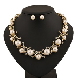 Elegant Pearl Decorated Alloy Jewelry Set