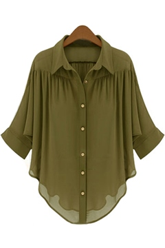 Ericdress Army Green Casual Blouse