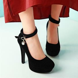 Suede Ankle Straps Women's Pumps