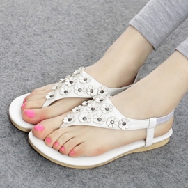 Splendid Flower Decorated Flat Sandals