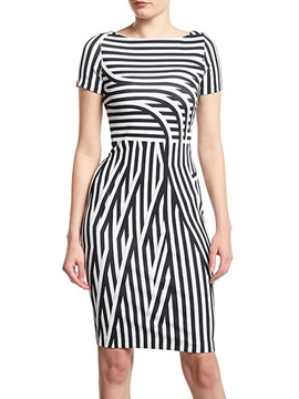 Ericdress Sumptuous Short Sleeves Stripes Sheath Little Party Dress