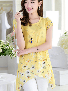 Ericdress Double Layer Chiffon Blouse