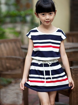 Ericdress Blue Stripe Girls Dress