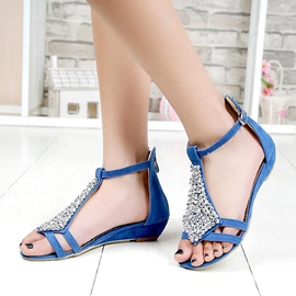 Cheap Suede Rhinestone Flat Sandals