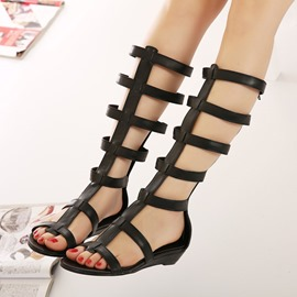 Black Hollow-outs Knee High Flat Sandals