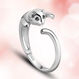 Ericdress Vogue Cat Silver Ring
