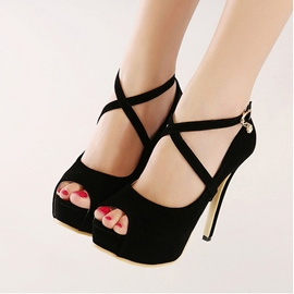 Roman OL Crossed-ties Stiletto Sandals