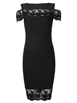 Ericdress Appliques Sheath Black Party Dress
