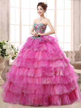 Ericdress Sweetheart Lace-Up Appliques Quinceanera Dress