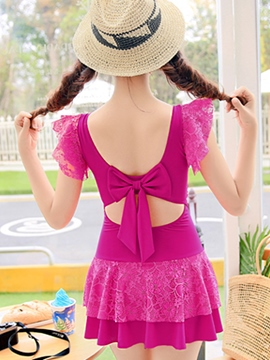 Ericdress Plain Lace Patchwork Swimwear