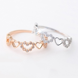 Ericdress Chic Diamond Linked Heart Ring