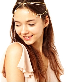 Ericdress Metallic Leaf Tassel Headband for Women