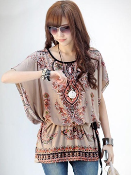 Ericdress Vintage Printing Batwing Blouse