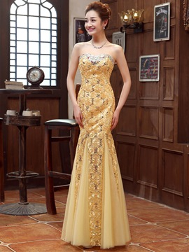 Ericdress Superb Sweetheart Appliques Beaded Sheath Long Evening Dress