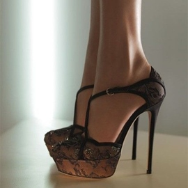 Ericdress Lace Mesh T-Strap Stiletto Sandals