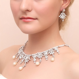 Ericdress Fancy Pearls and Rhinestone Alloy Wedding Jewelry Set (Including Necklace and Earrings)