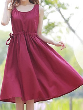 Ericdress Sleeveless Plain Casual Dress
