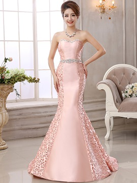 Ericdress Amazing Strapless Hollow Out Floor-Length Mermaid Evening Dress