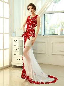 Ericdress Exceptional V-Neck Floor-Length Appliques Evening Dress