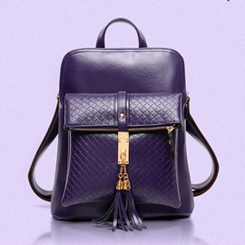 Ericdress Exquisite Tassel Decorated Embossing Solid Color Backpack