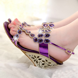 Summer Rhinestone Decoration Wedge Sandals
