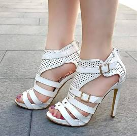 White Hollow Out Stiletto Sandals with Buckle