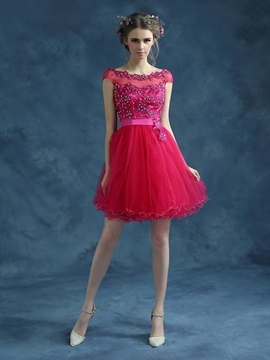 Ericdress A-Line Cap Sleeves Bateau Neck Beadings Short Homecoming Dress