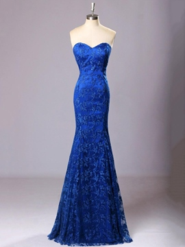 Ericdress Classic Sweetheart Floor-Length Lace Trumpet Evening Dress