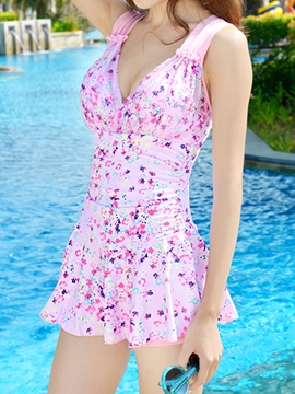 Ericdress Floral Print Pleated Swimwear