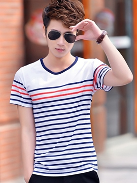 Ericdress Simple Stripe Short Sleeve T-Shirt
