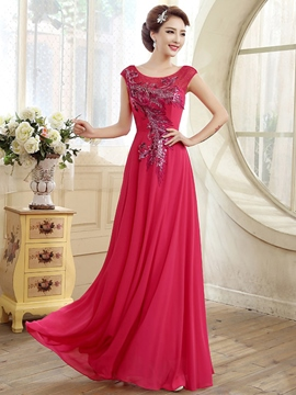 Ericdress Short Sleeve Sequins A-line Long Evening Dress