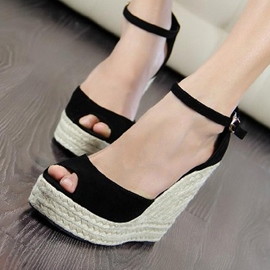 Knitting Peep-toe Wedge Sandals