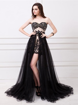 Ericdress A-Line Front-Split Appliques Sequins Prom Dress With Detachable Train