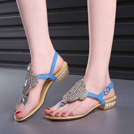 Ericdress Shining Rhinestone Thong Flat Sandals