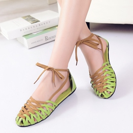Special Hollow-outs Lace-up Flat Sandals