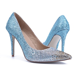 Blue Pointed-toe Pumps with Rhinestone Decoration