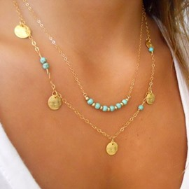 Ericdress Stylish Paillette & Bead Multilayer Charm Necklace