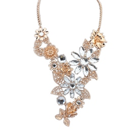 Ericdress Fantastic Rhinestone Floral Charm Necklace