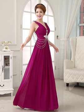 Ericdress V-Neck Beaded Pleats Floor-Length Evening Dress