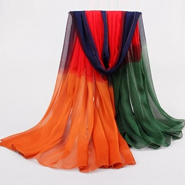 Color Block Chiffon Women's Scarf