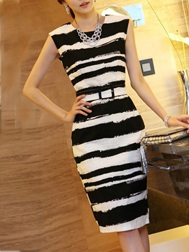 Ericdress Stripe Sleeveness Sheath Dress