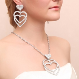 Ericdress Chic Alloy Rhinestone Heart Shaped Wedding Jewel Sets