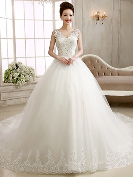 Ericdress Elegant V-Neck Appliques Cathedral Train Wedding Dress