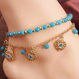 Ericdress Beaded Floral Pendant Anklets