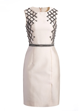 Ericdress Solid Color Beaded Sheath Party Dress