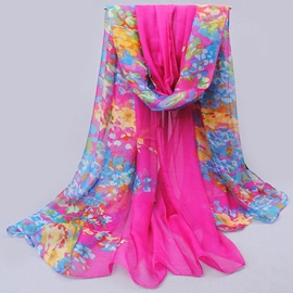 Bold Color Chiffon Printed Scarf