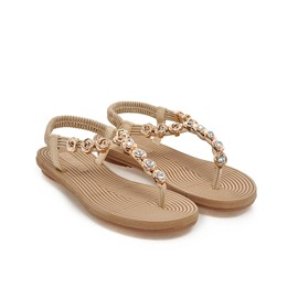 Simple Crystal Clip-toe Flat Sandals
