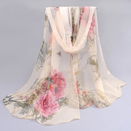 Blooming Flower Printed Chiffon Scarf