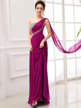 Ericdress Sequins One-Shoulder Zipper-Up Long Evening Dress