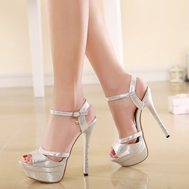 Elegant Peep-toe Ankle Strap Stiletto Sandals